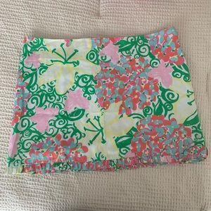 Lily Pulitzer floral mini skirt frill hem size 4